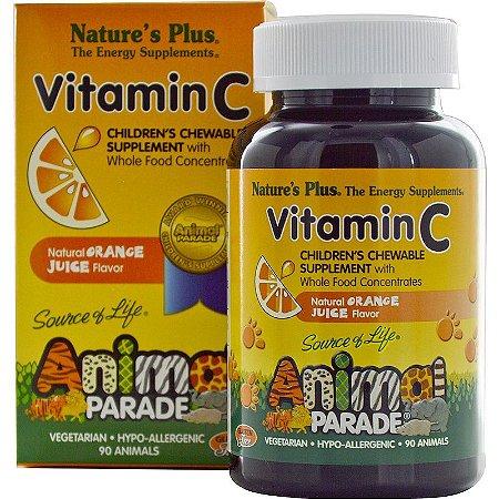 Nature's Plus, Fonte da vida, Animal Parade, Vitamina C, Suplemento Infantil para Mastigar, sabor natural de laranja , 90 animais