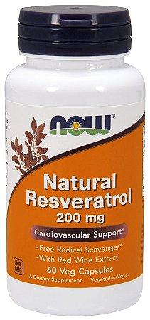 Natural Resveratrol 200 mg NOW 60 Veg Capsules