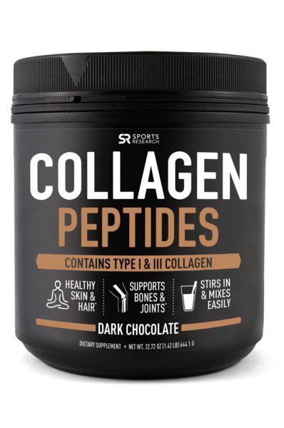 Colágeno em pó Tipo I & III sabor chocolate -Sports Research - 644g