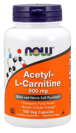 Acetyl-L-Carnitine 500 mg  NOW 100 Veg Capsules