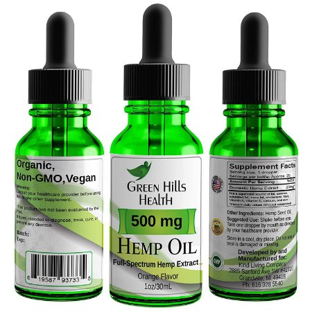 Hemp Oil 500MG Full Spectrum Premium Green Hills Health 30 ml