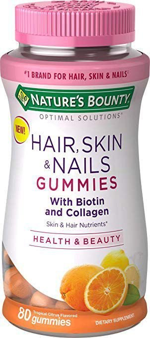 Hair, Skin & Nails com biotina e colágeno NATURES BOUNTY 80 gummies Tropical Cítrus