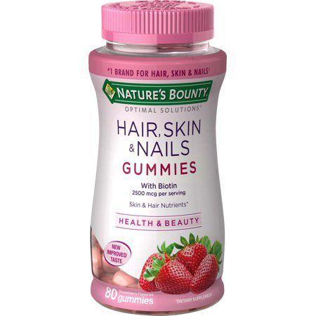 Hair, Skin & Nails  NATURES BOUNTY 80 Gummies Strawberry