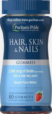 Hair, Skin e Nails  PURITANS Pride  80 Gummies  de morango