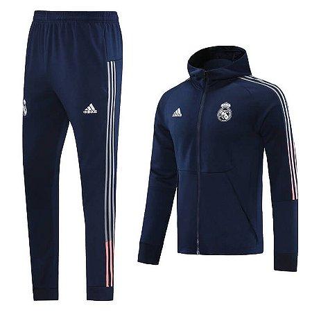 Conjunto Agasalho Real Madrid com Capuz 2021 Adidas - Masculina