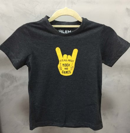Camiseta It´s all about Rock and Games Grafite - Infantil