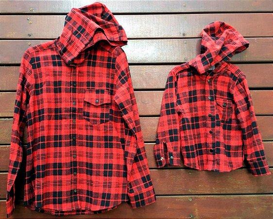 Camisa Flanela Adulto com capuz