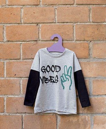 Camiseta Masculina Manga Longa - Good Vibes