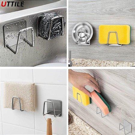 Gancho Adesivo Inox Suporte Para Esponja e Acessórios Cozinha Banheiro Lavanderia - CH115