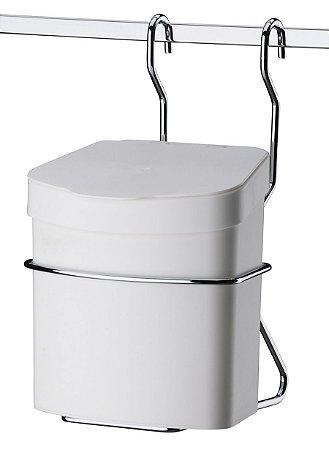 Suporte Com Lixeira Plástica 2,5 Litros para Barra Cozinha - Branca - Ref. 2409
