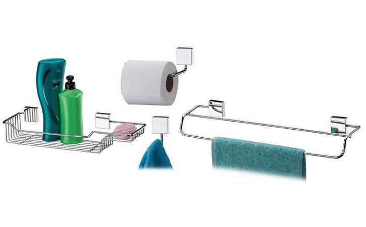 Conjunto para Banheiro Inox Kit 04 Peças Luxo - Ref. 7511