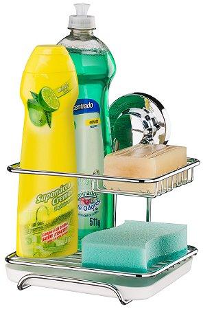 Suporte Para Sabão Detergente Esponja Com Ventosa Luxo Future - Ref. 4017
