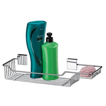 Porta Shampoo E Sabonete Inox Luxo Banheiro Para Fixar na Parede - Ref. 7500
