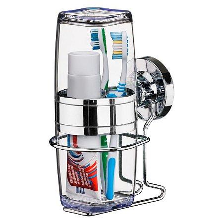 Porta Escovas e Creme Dental Suporte Com Ventosa Extraforte Luxo - Ref. 4015
