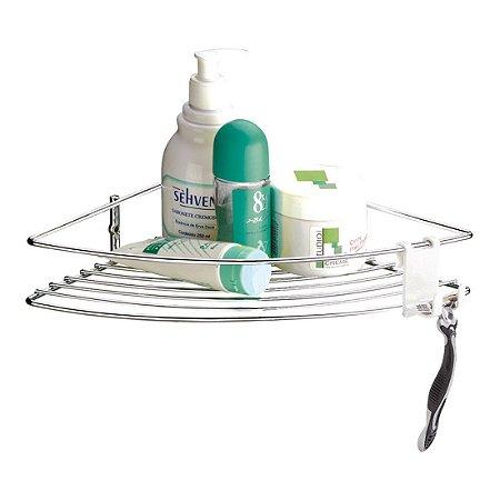 Porta Shampoo Suporte Cantoneira 1 Andar Com Gancho Móvel Future - Ref. 1004