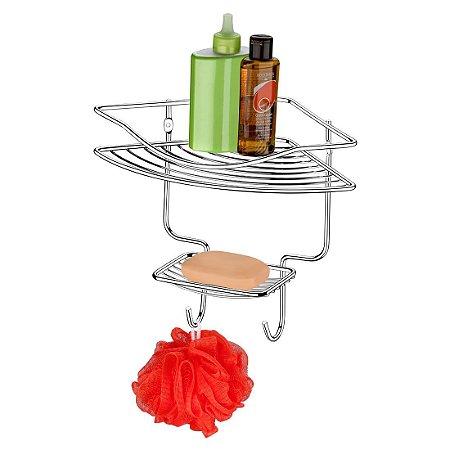Porta Shampoo E Sabonete Cantoneira 1 Posição Banheiro - Ref. 1026
