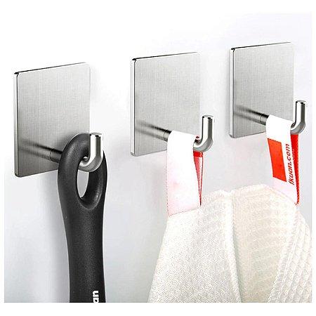 Gancho Inox Multiúso Cabide Adesivo Porta Utensílios Cozinha Banheiro - Ref. Ch35