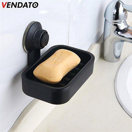 Saboneteira com Ventosa Suporte para Sabonete Saboneteira Luxo Preta - CH72