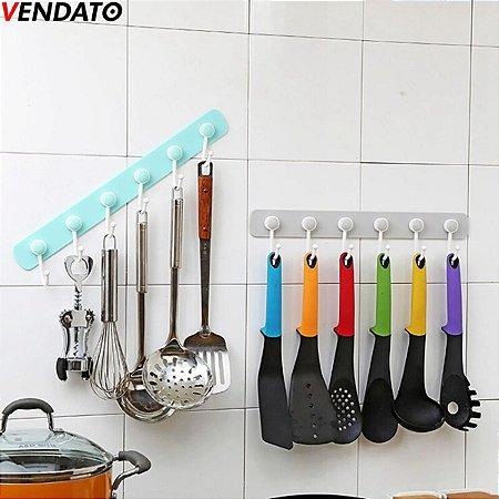 Gancho Adesivo Multiúso Organizador 6 Ganchos Cozinha Banheiro Quarto Lavanderia - CH73-CH124-CH125-CH137