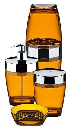 Conjunto Para Banheiro 4 Peças Âmbar Cromo - Cristalo - Ref. 2705ab