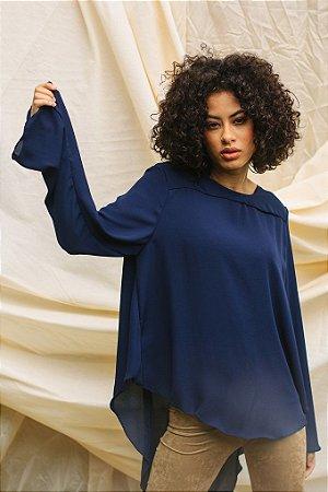 Blusa Ampla Crepe Azul Marinho