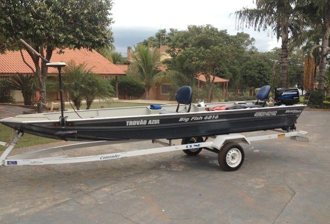 Barco MetalGlass Big Fish 6016 c/ Motor Mercury 25 Sea Pro + Carreta