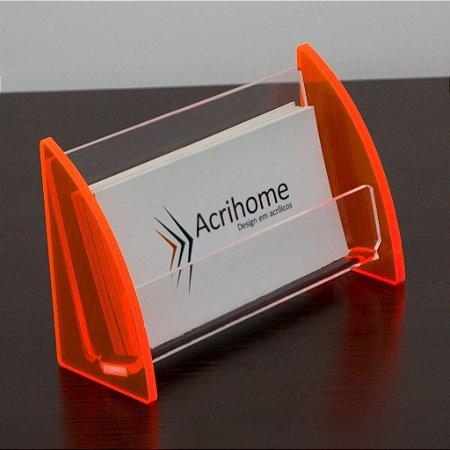 Porta cartão de visita de acrílico laranja - 3 peças