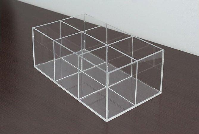 Porta pincel 6 divisórias transparente