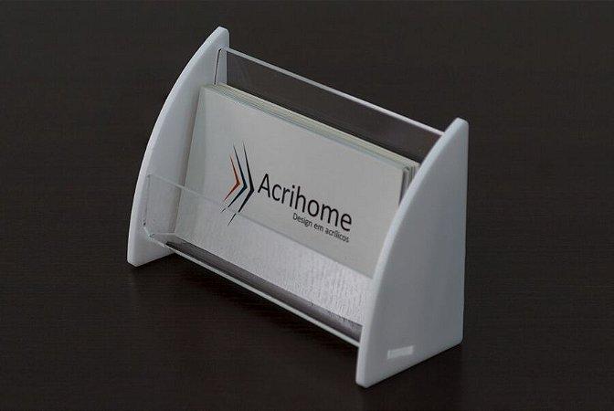 Porta cartão de visitas em acrílico branco - 3 peças