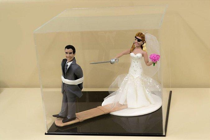 Caixa para topo de bolo de casamento - Fundo preto