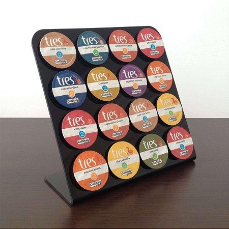Porta capsulas de café três corações - Preto