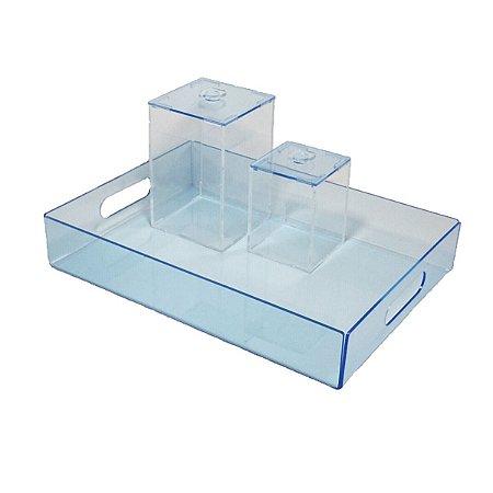 Kit higiene de acrílico azul para bebê