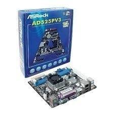 Placa Mae Asrock Ad525pv3 Atom D525 (ddr3 / Mini-itx)