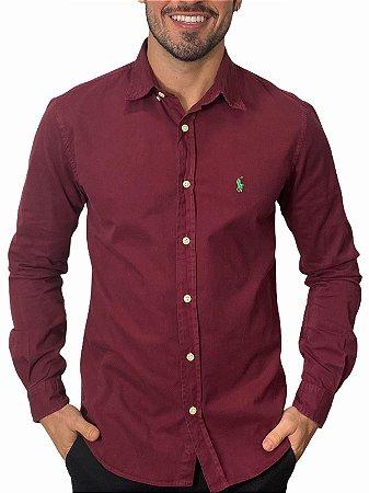 Camisa Ralph Lauren Sarja Tinturada Bordô
