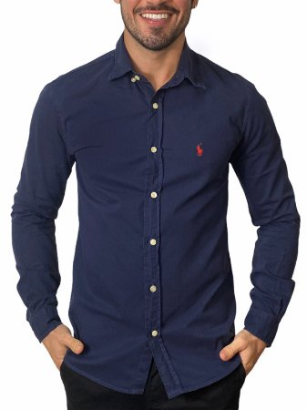 Camisa Ralph Lauren Sarja Tinturada Marinho
