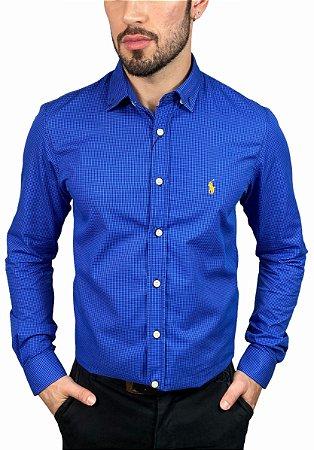 Camisa Ralph Lauren Micro-Xadrez Azul Royal