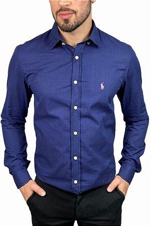 Camisa Ralph Lauren Micro-Xadrez Marinho