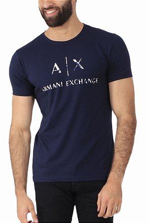Camiseta Armani Exchange Camuflagem Marinho
