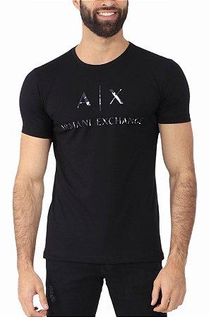 Camiseta Armani Exchange Camuflagem Preta