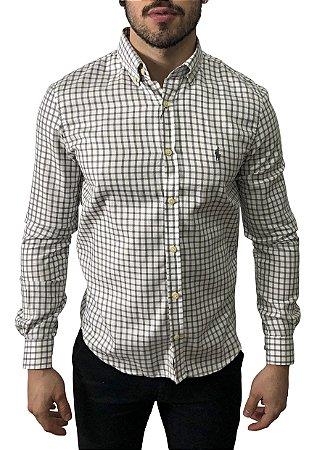 Camisa Ralph Lauren Xadrez Branca Cinza