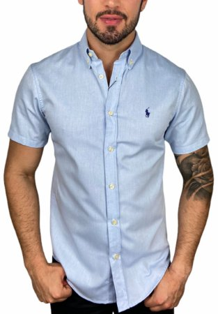 Camisa Ralph Lauren Manga Curta Oxford Azul
