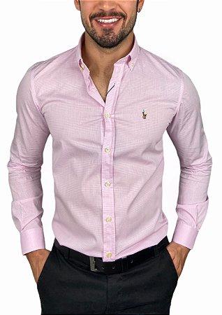 Camisa Ralph Lauren Micro-Xadrez Rosa