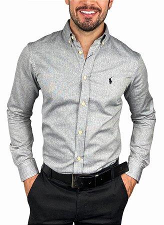 Camisa Ralph Lauren Oxford Cinza