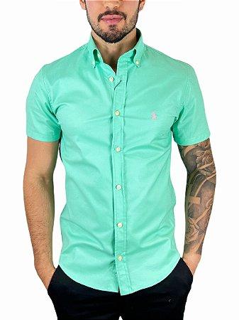 Camisa Ralph Lauren Oxford Verde Água Manga Curta