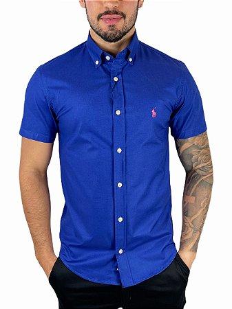 Camisa Ralph Lauren Oxford Azul Manga Curta