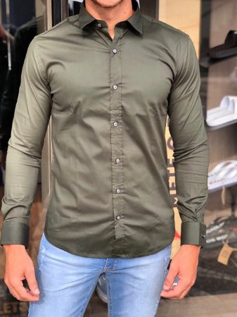 Camisa Alfaiataria Italiana Verde Musgo