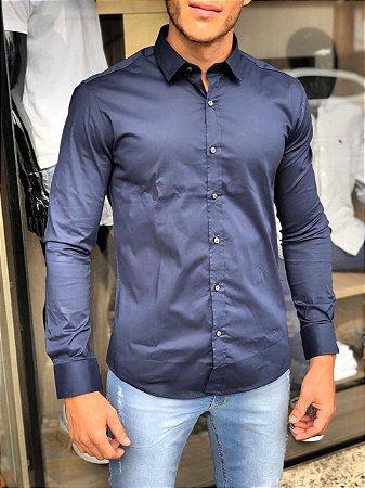 Camisa Alfaiataria Italiana Azul Marinho