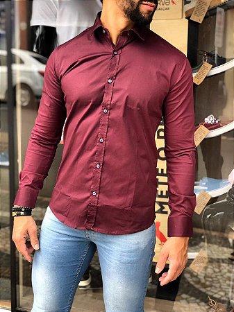 Camisa Alfaiataria Italiana Bordô