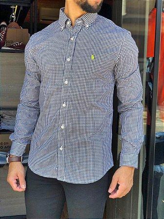 Camisa Ralph Lauren, Micro Xadrez Preta e Branco