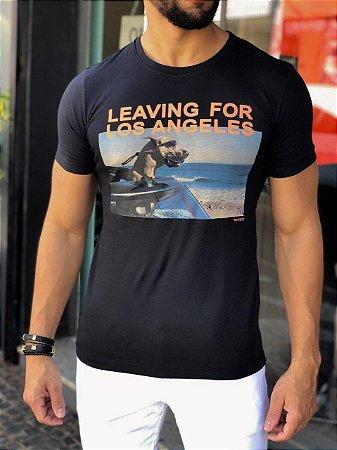 "T-Shirt Sérgiok ""Leaving for Los Angeles"" Preto"